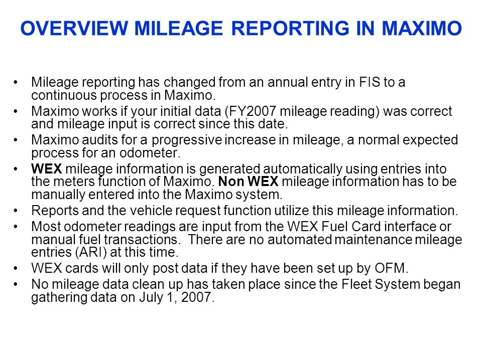 OVERVIEW MILEAGE REPORTING IN MAXIMO