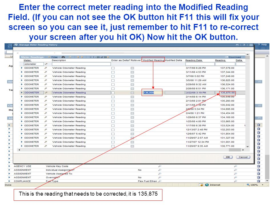 Enter the correct meter reading into the Modified Reading Field