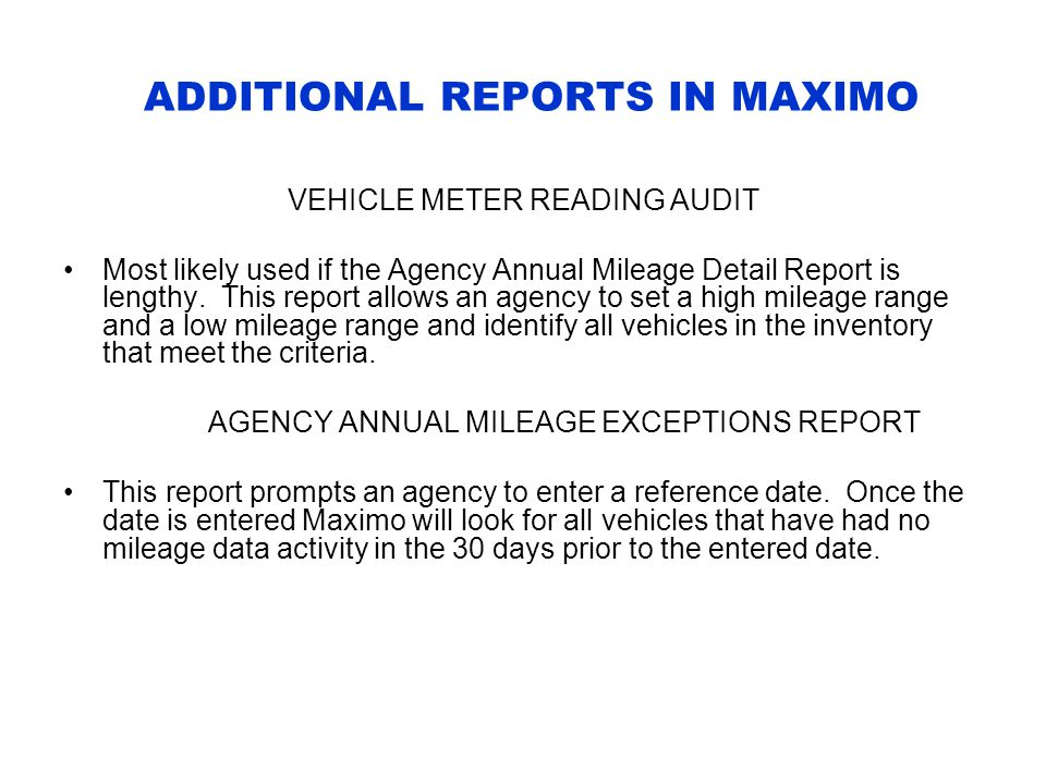 ADDITIONAL REPORTS IN MAXIMO