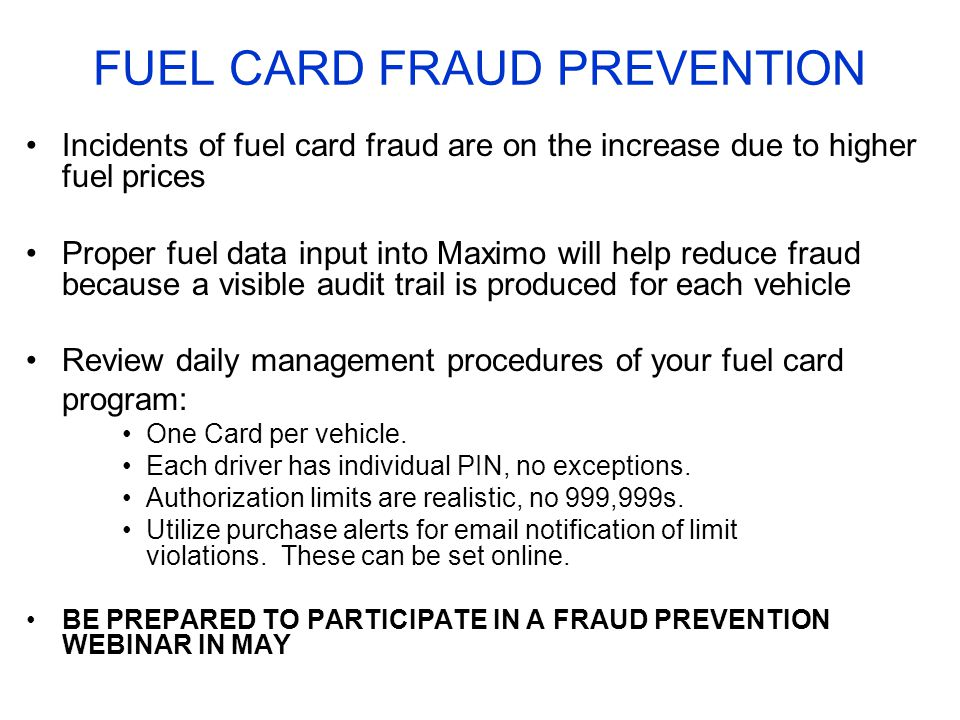FUEL CARD FRAUD PREVENTION