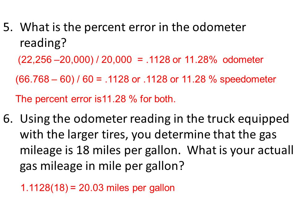 What is the percent error in the odometer reading