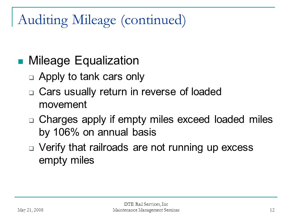 Auditing Mileage (continued)