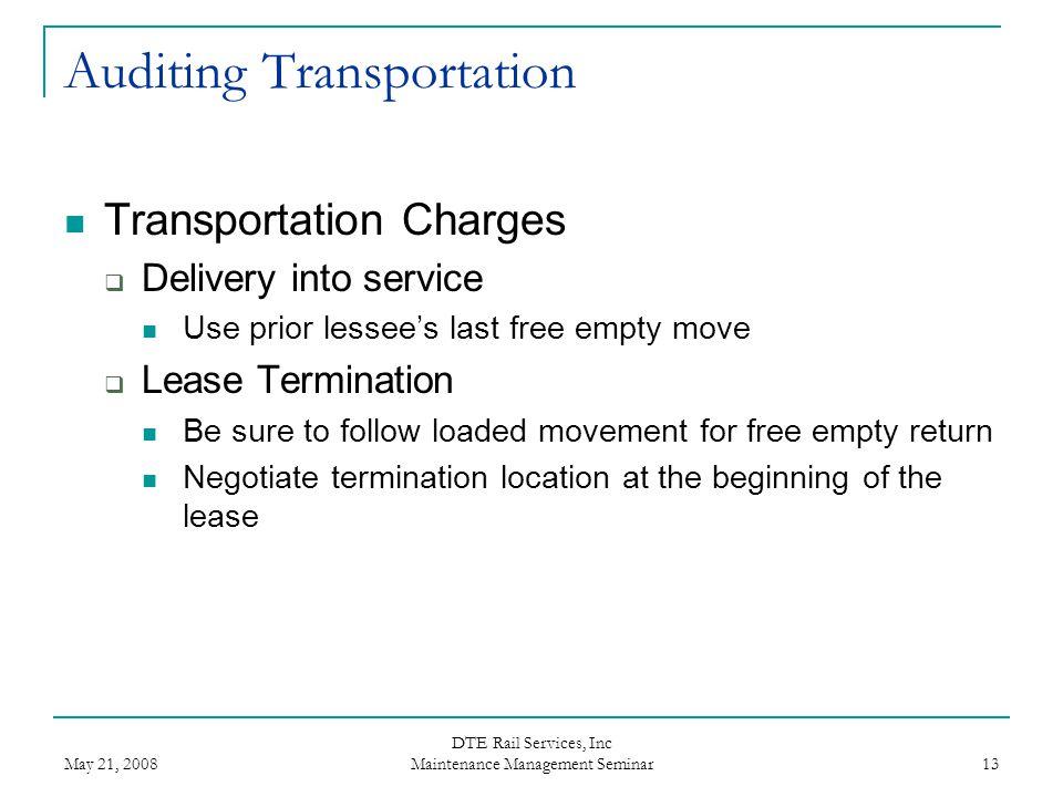 Auditing Transportation