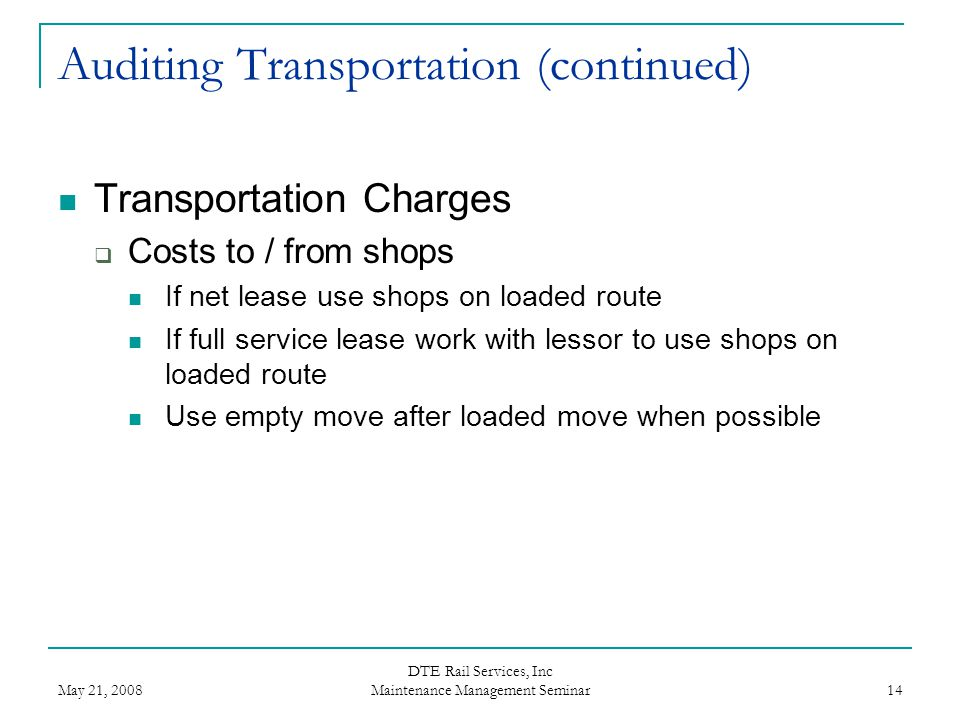 Auditing Transportation (continued)