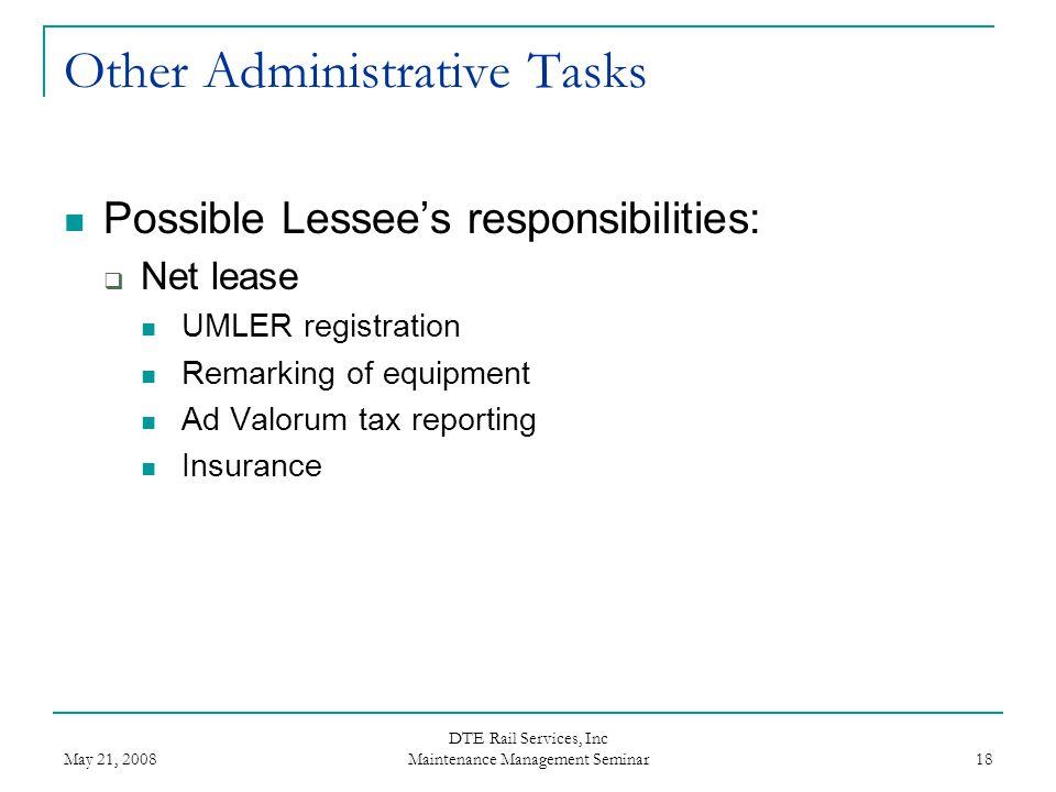Other Administrative Tasks