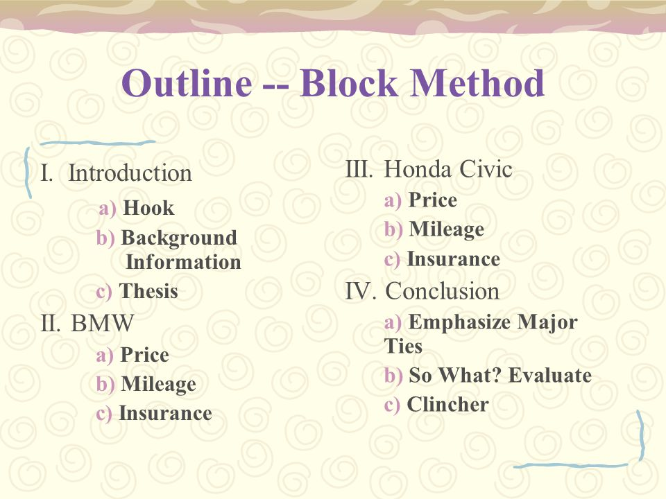 Outline -- Block Method