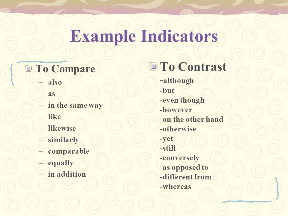 Example Indicators To Contrast To Compare -although also as -but