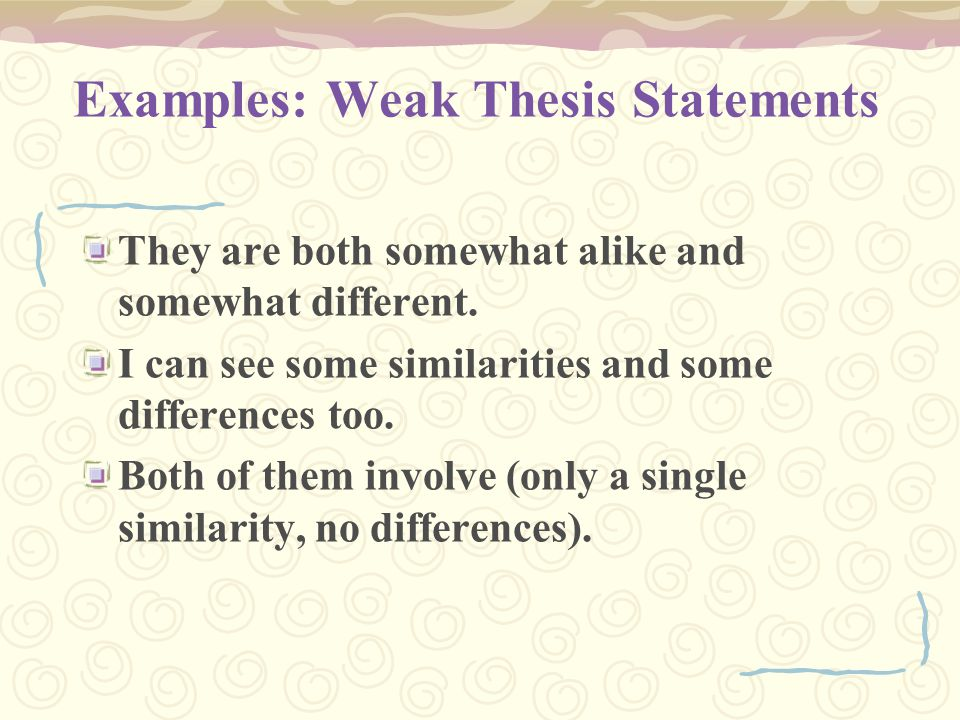 Examples: Weak Thesis Statements