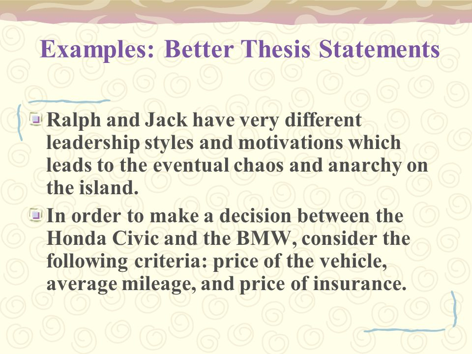 Examples: Better Thesis Statements