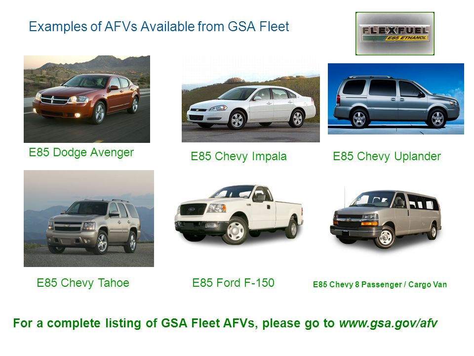 Examples of AFVs Available from GSA Fleet