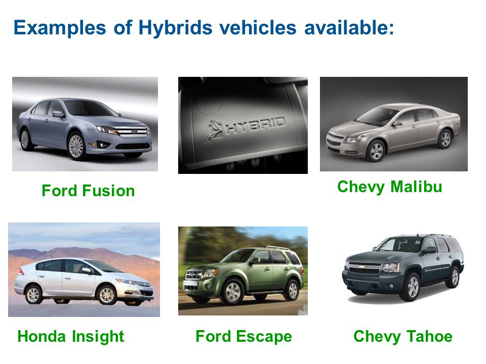 Examples of Hybrids vehicles available: