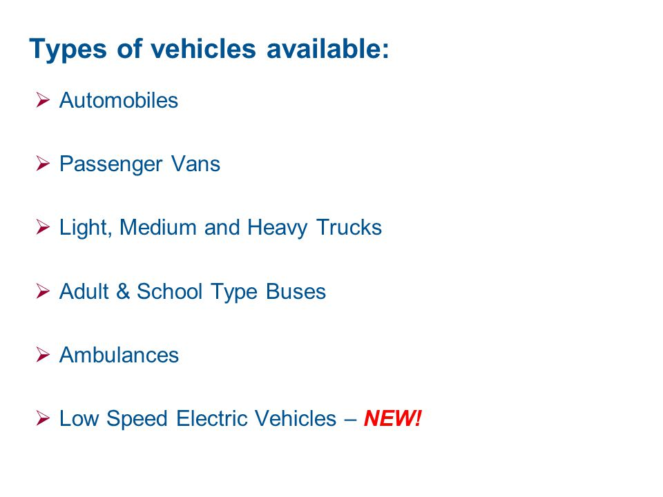 Types of vehicles available: