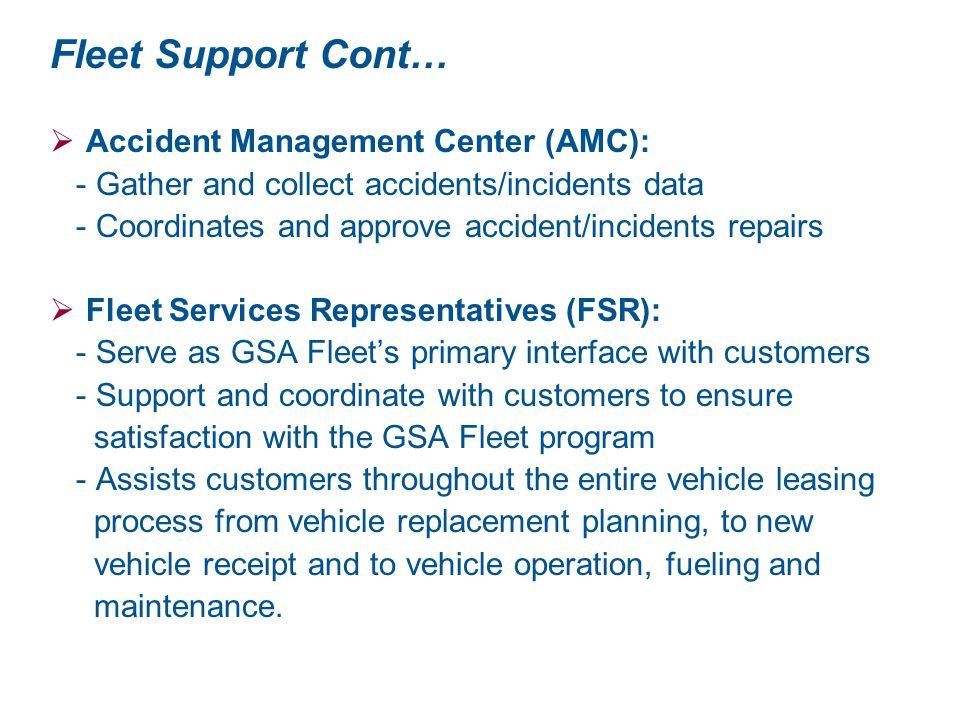 Fleet Support Cont… Accident Management Center (AMC):