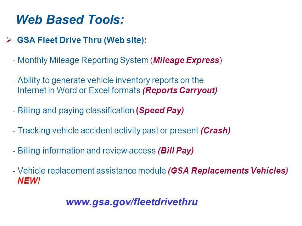 Web Based Tools: GSA Fleet Drive Thru (Web site):