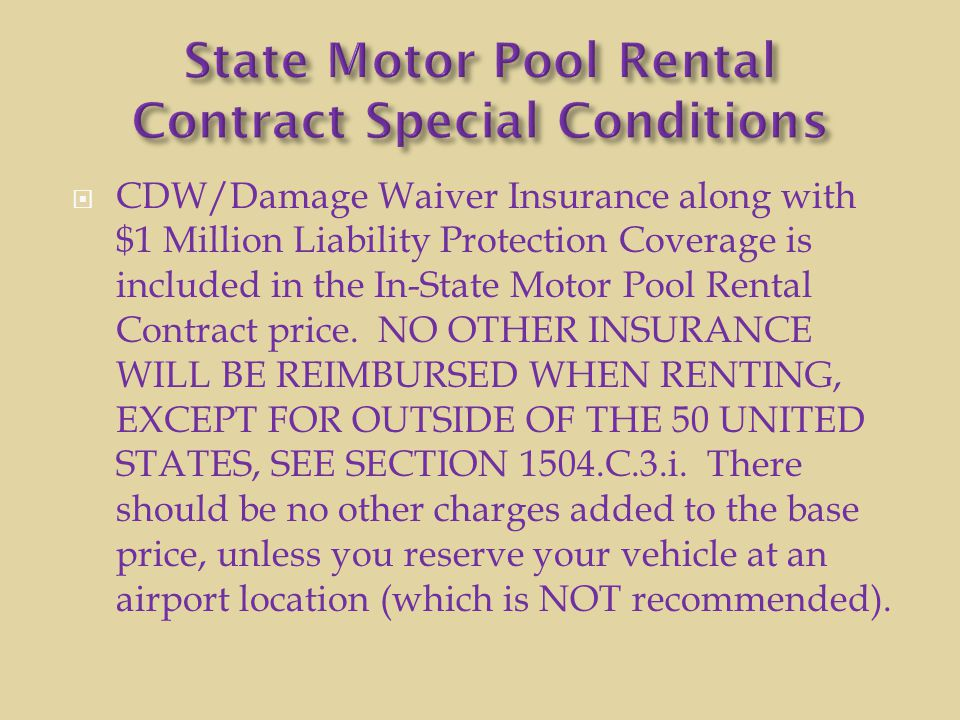 State Motor Pool Rental Contract Special Conditions