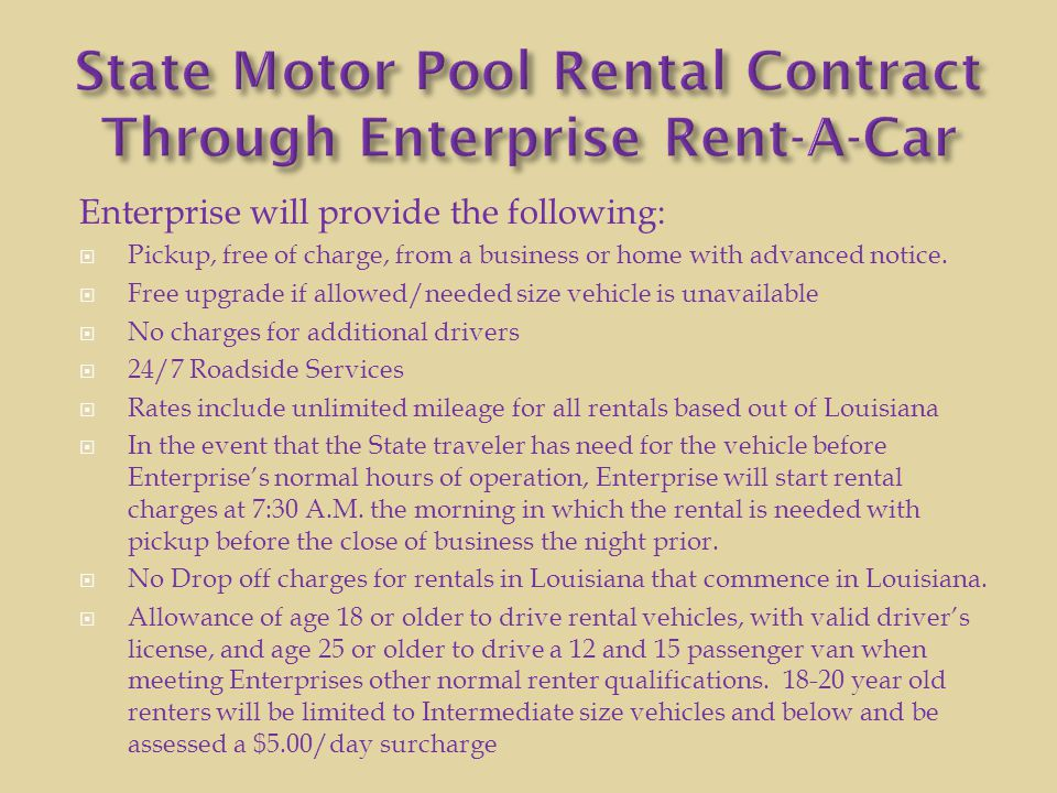State Motor Pool Rental Contract Through Enterprise Rent-A-Car