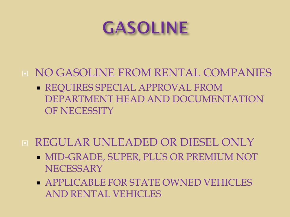 GASOLINE NO GASOLINE FROM RENTAL COMPANIES