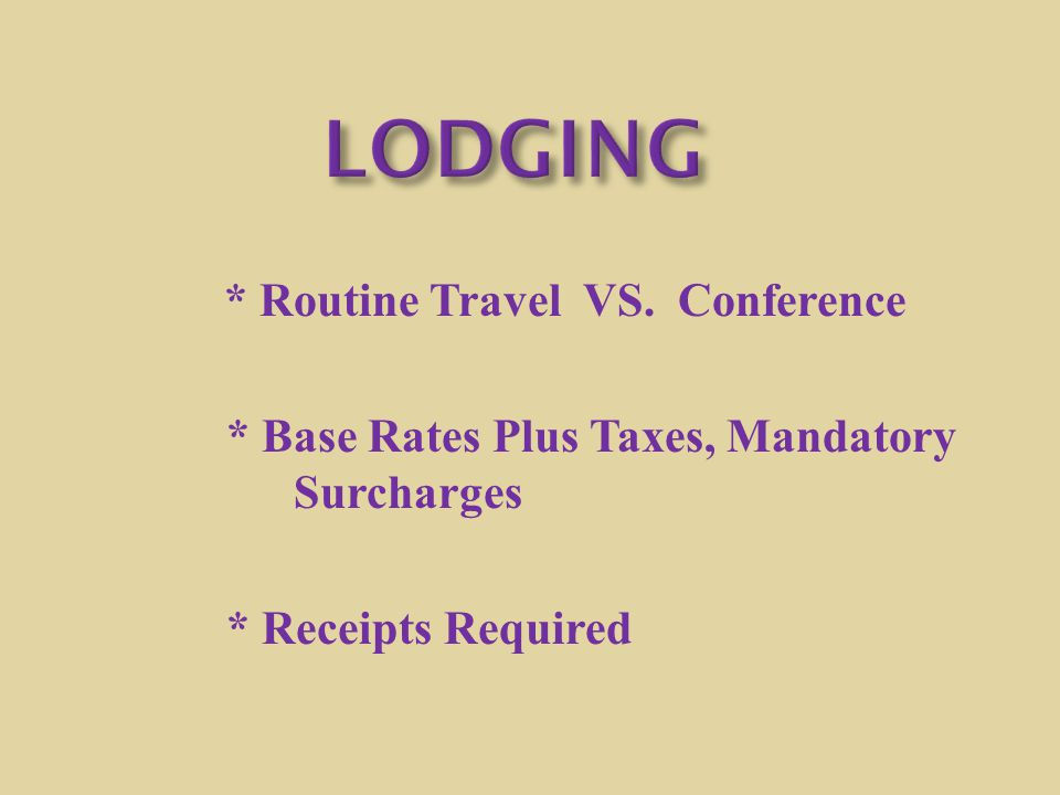 LODGING * Base Rates Plus Taxes, Mandatory Surcharges