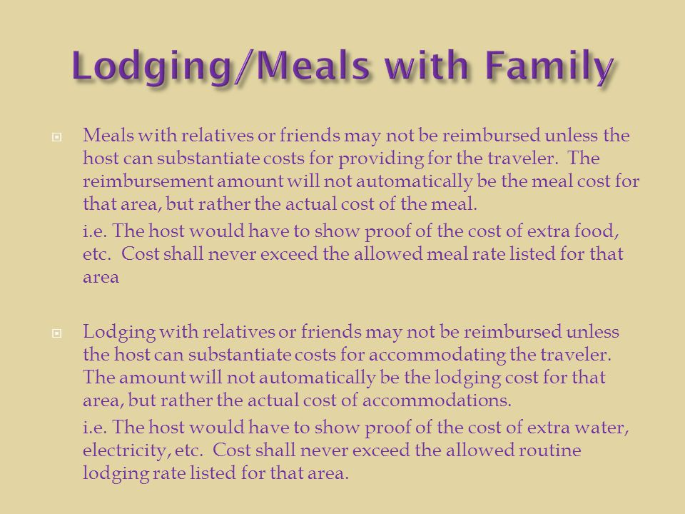 Lodging/Meals with Family