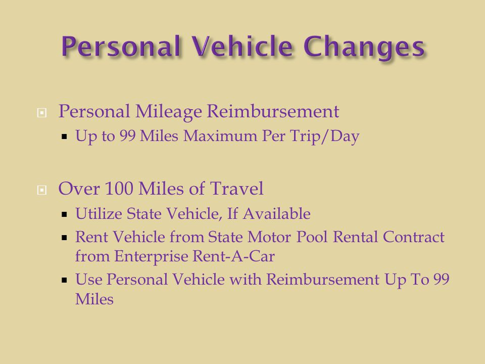 Personal Vehicle Changes
