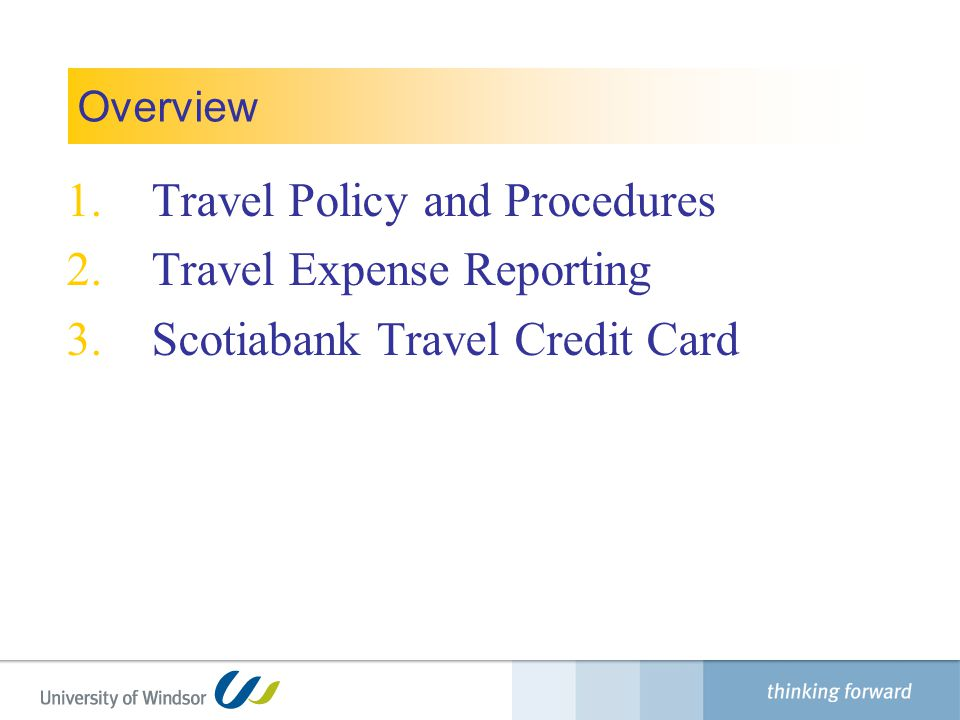 Travel Policy and Procedures Travel Expense Reporting