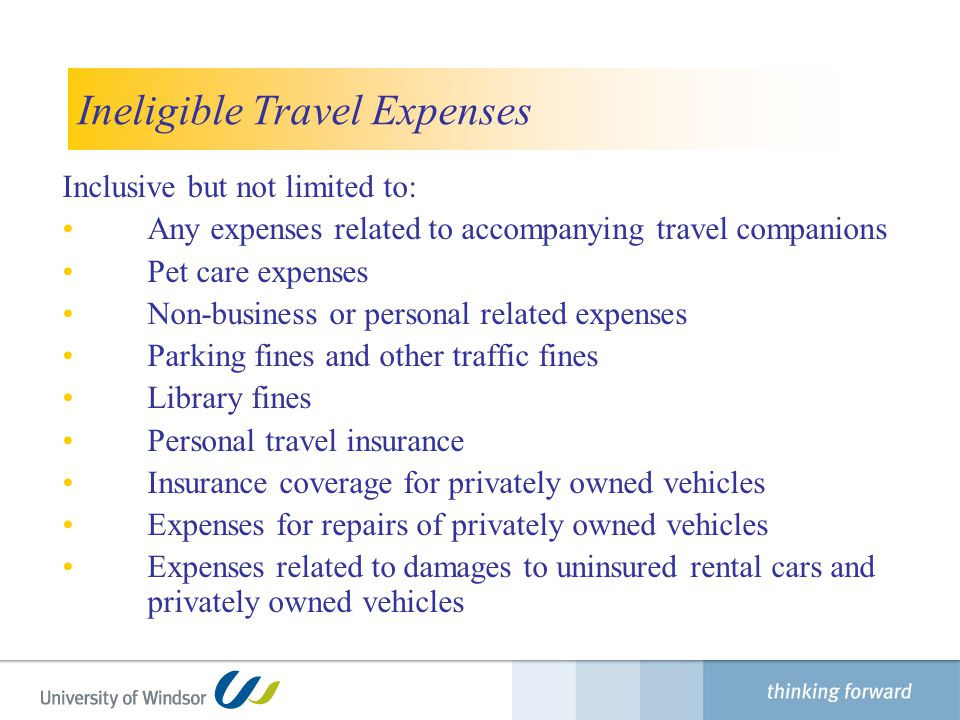 Ineligible Travel Expenses