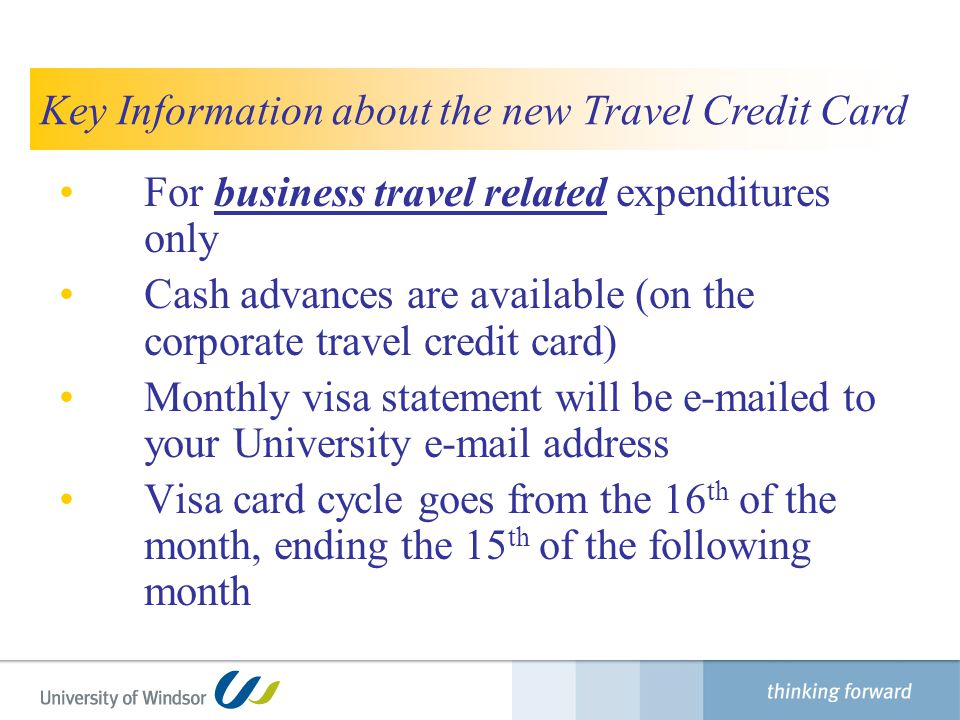 Key Information about the new Travel Credit Card