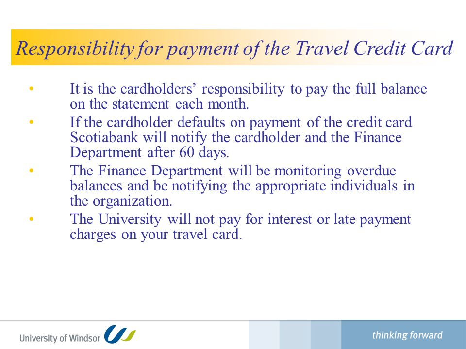 Responsibility for payment of the Travel Credit Card