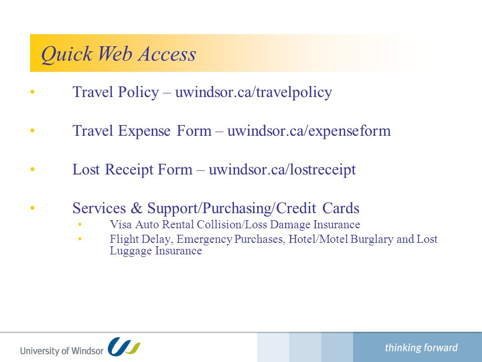 Quick Web Access Travel Policy – uwindsor.ca/travelpolicy