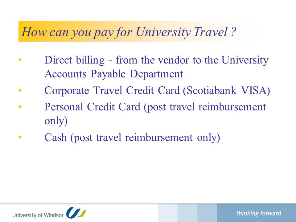 How can you pay for University Travel