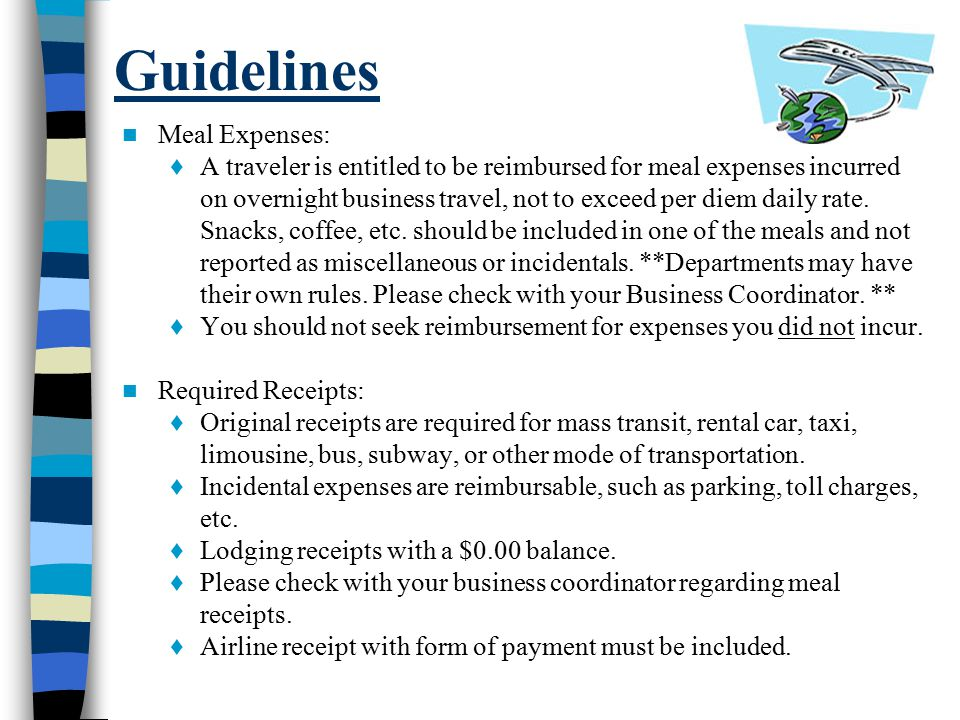 Guidelines Meal Expenses: