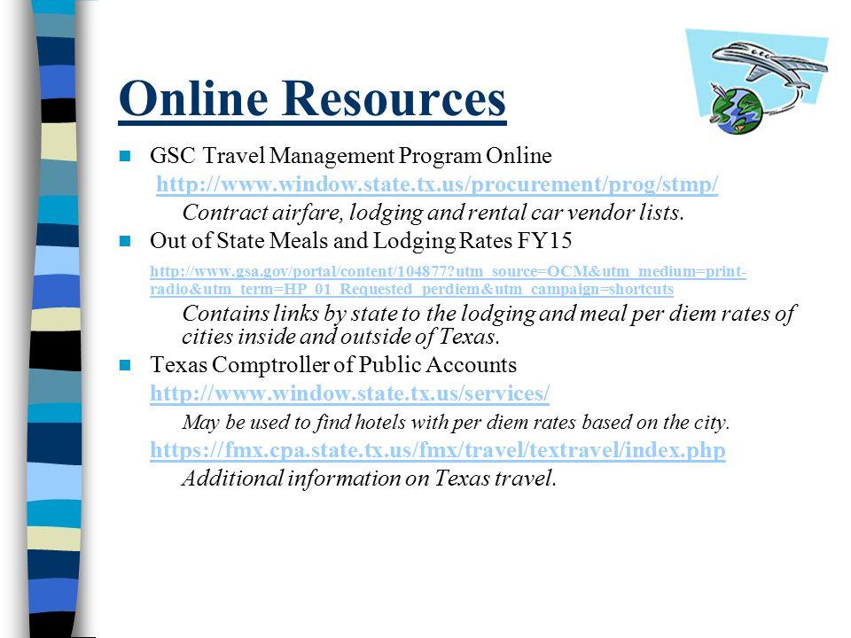 Online Resources GSC Travel Management Program Online