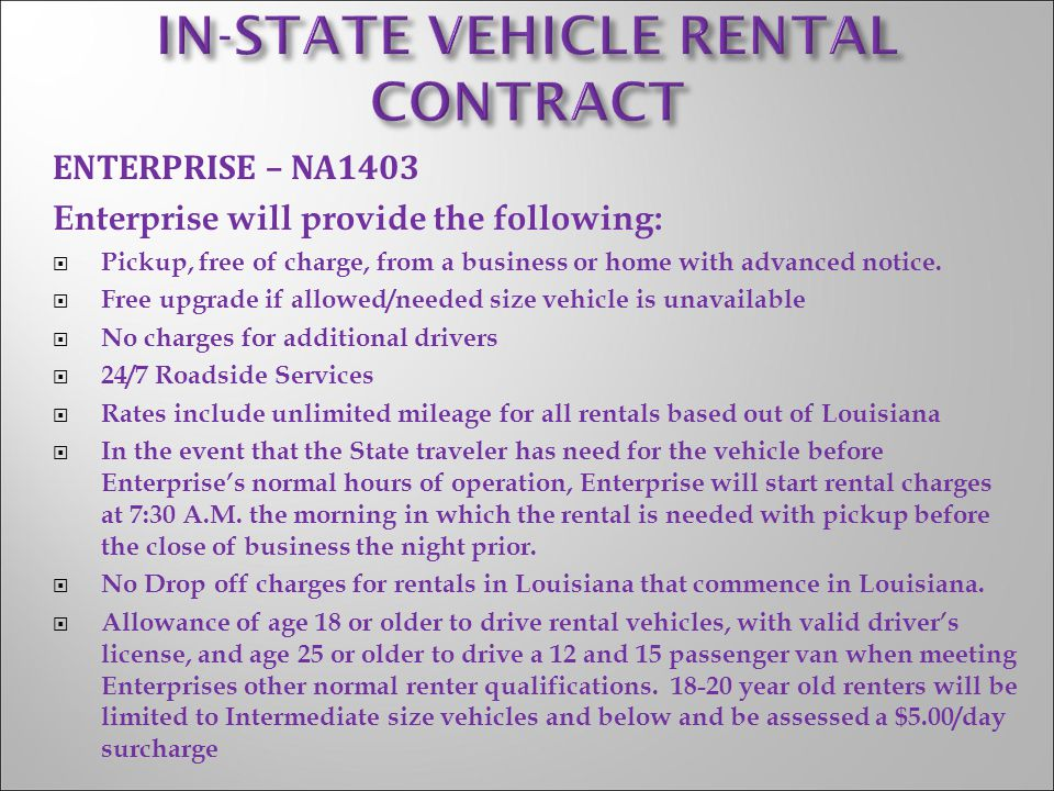 IN-STATE VEHICLE RENTAL CONTRACT