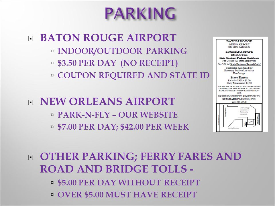 PARKING BATON ROUGE AIRPORT NEW ORLEANS AIRPORT