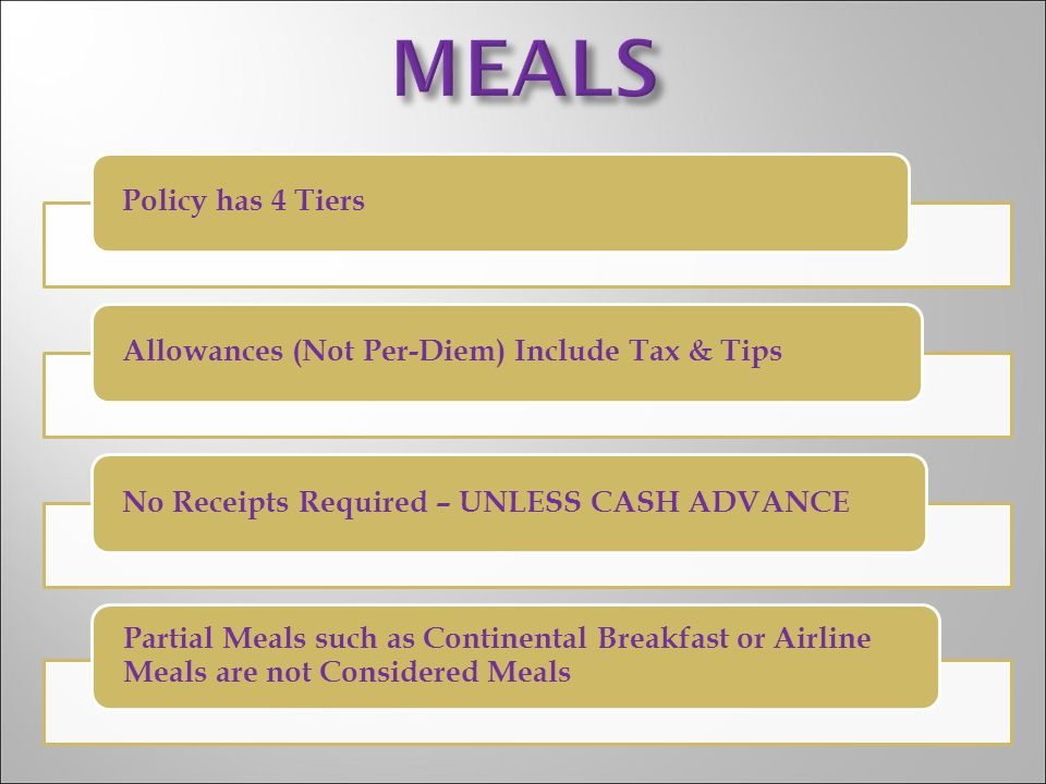 MEALS Policy has 4 Tiers Allowances (Not Per-Diem) Include Tax & Tips