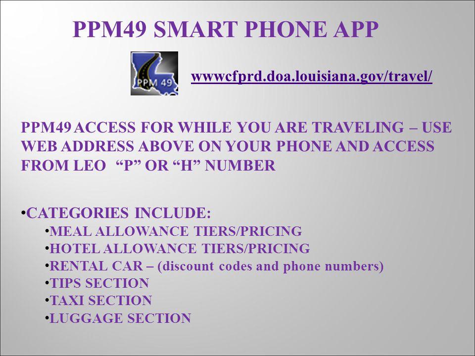 PPM49 SMART PHONE APP wwwcfprd.doa.louisiana.gov/travel/