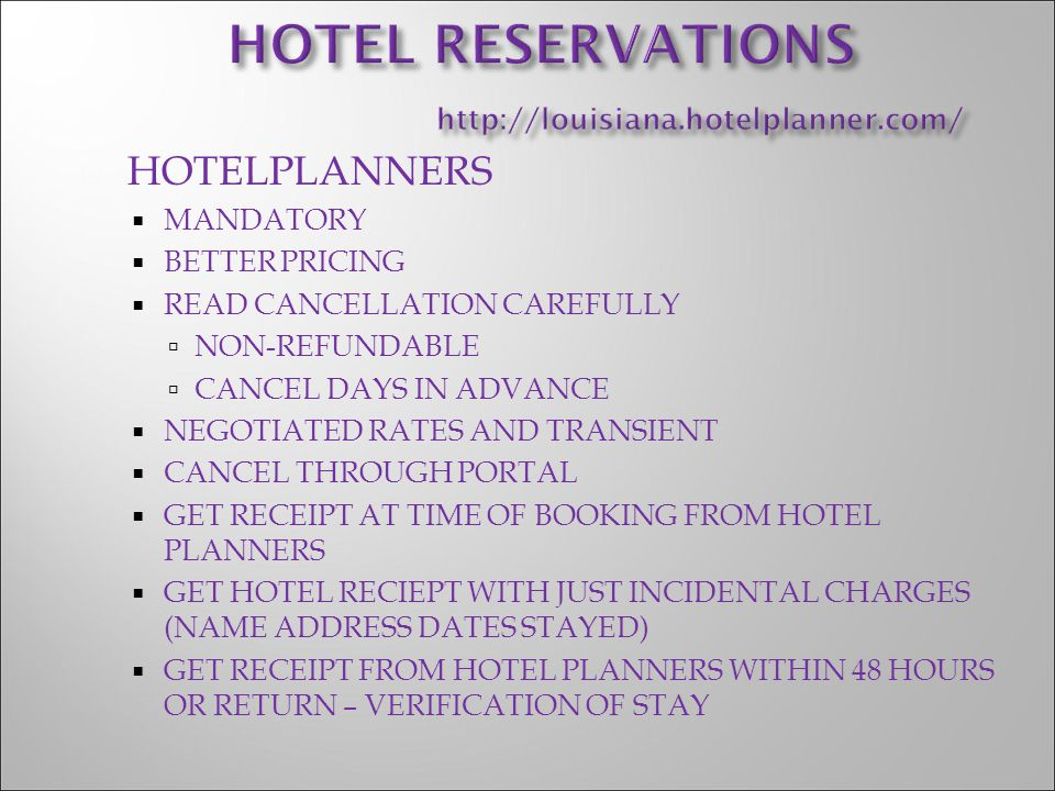 HOTEL RESERVATIONS http://louisiana.hotelplanner.com/