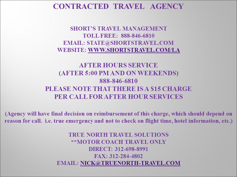 CONTRACTED TRAVEL AGENCY