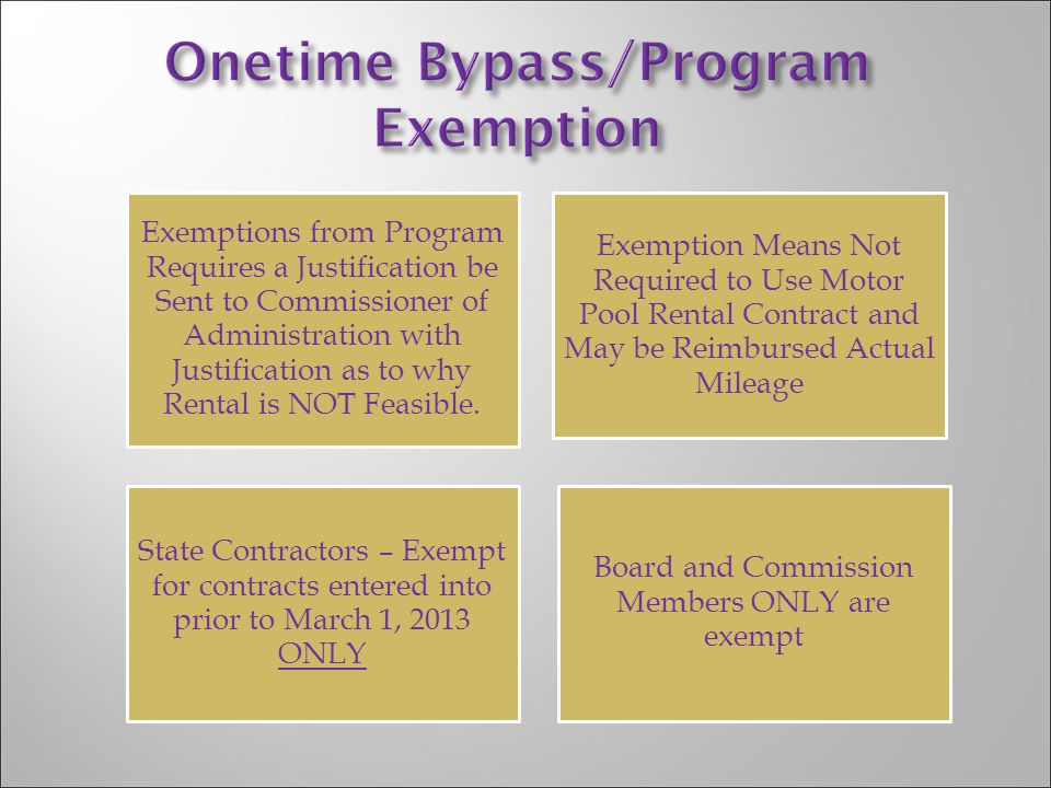 Onetime Bypass/Program Exemption