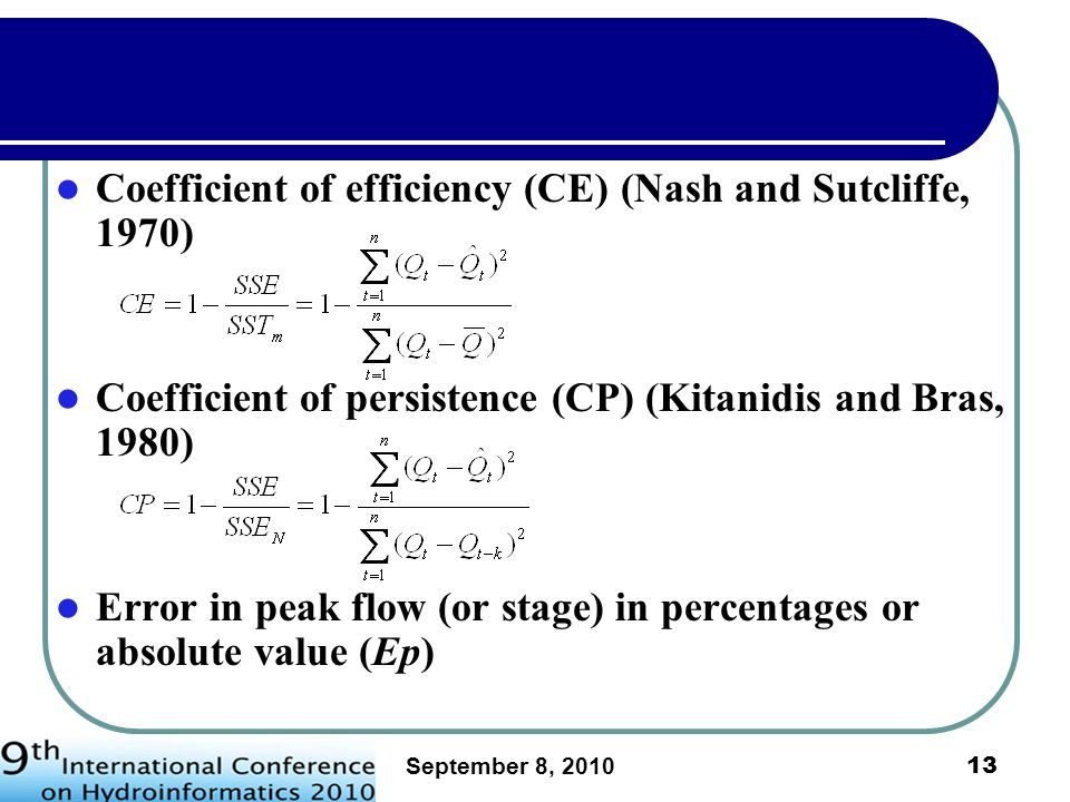 Coefficient of efficiency (CE) (Nash and Sutcliffe, 1970)
