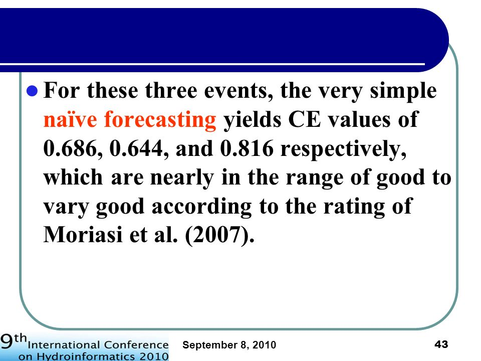 For these three events, the very simple naïve forecasting yields CE values of 0.686, 0.644, and 0.816 respectively, which are nearly in the range of good to vary good according to the rating of Moriasi et al. (2007).