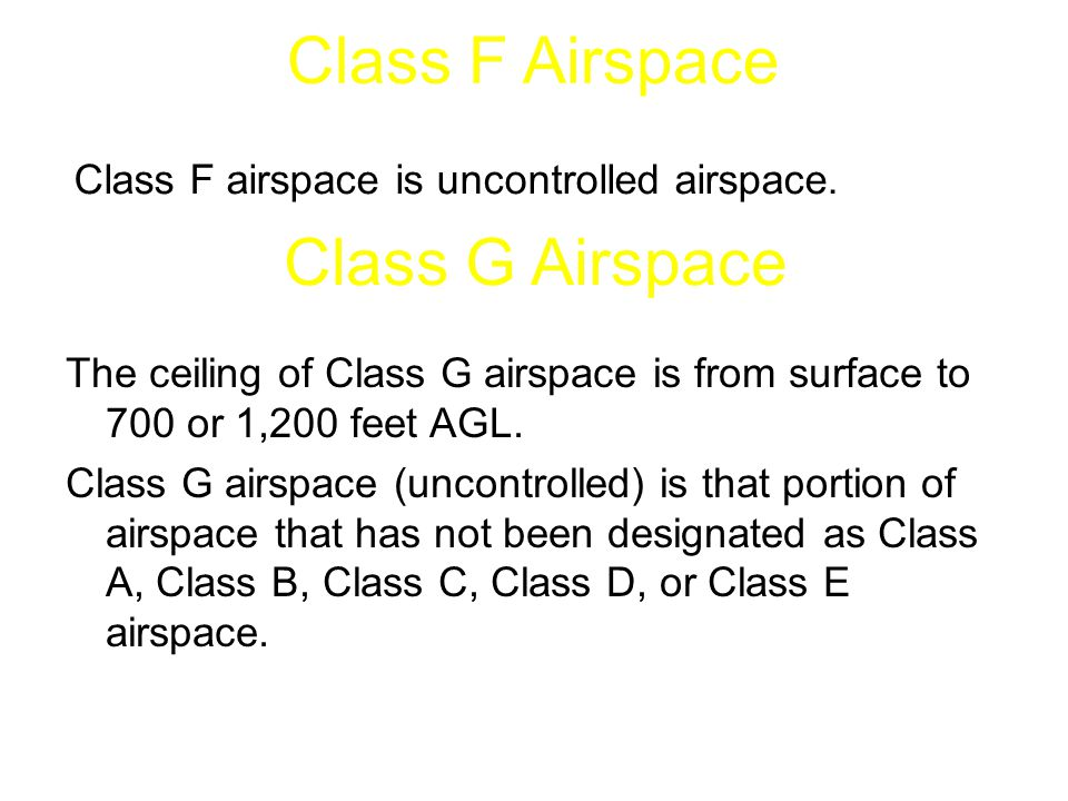 Class F Airspace Class G Airspace