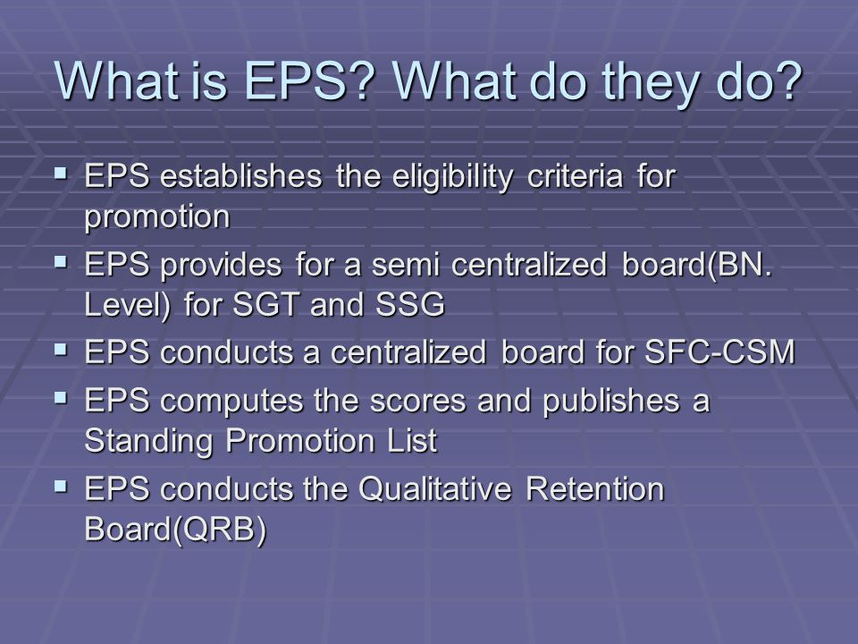 What is EPS What do they do
