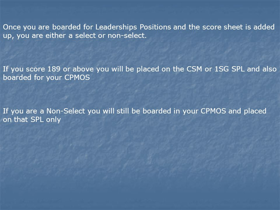 Once you are boarded for Leaderships Positions and the score sheet is added