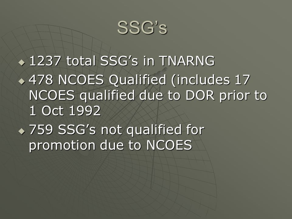 SSG's 1237 total SSG's in TNARNG