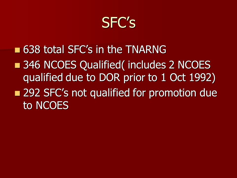 SFC's 638 total SFC's in the TNARNG