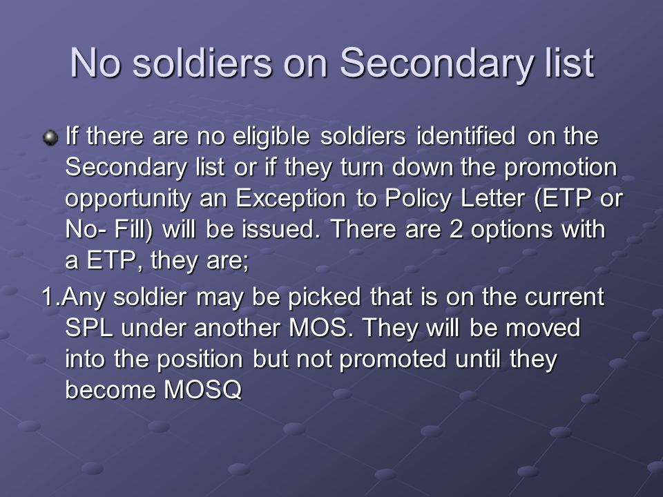 No soldiers on Secondary list