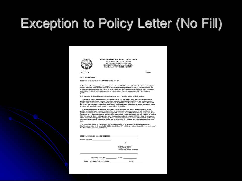 Exception to Policy Letter (No Fill)