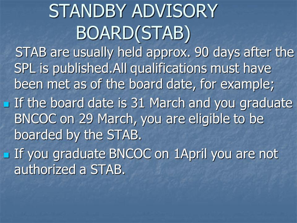 STANDBY ADVISORY BOARD(STAB)