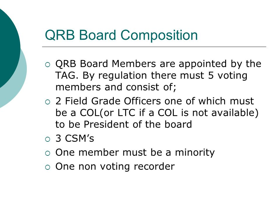 QRB Board Composition QRB Board Members are appointed by the TAG. By regulation there must 5 voting members and consist of;